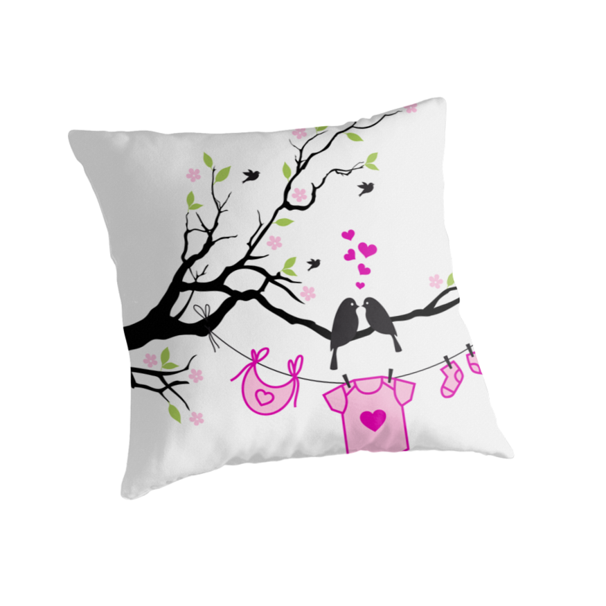 New Baby Girl, Baby Shower Throw Pillow