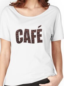 Instant coffee granules spelling café (French) Women's Relaxed Fit T-Shirt