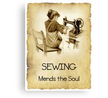 Love Sewing, Drawing of Girl At Old Sewing Machine, Quote Canvas Print