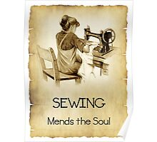 Love Sewing, Drawing of Girl At Old Sewing Machine, Quote Poster