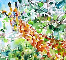 GIRAFFE - watercolor portrait by lautir