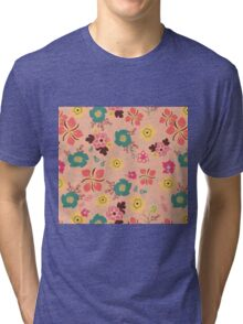 Ditsy Flowers in pink Tri-blend T-Shirt
