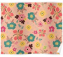 Ditsy Flowers in pink Poster