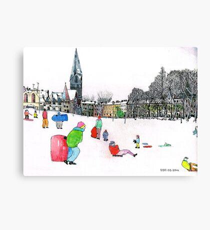Edinbrough Tobogganing Snow Scene 3 Canvas Print