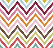 Zigzag Pattern, Chevron Pattern - Green Blue Pink by sitnica