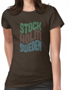 Stockholm Sweden Retro Wave Womens Fitted T-Shirt