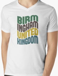 Birmingham United Kingdom Retro Wave Mens V-Neck T-Shirt