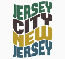 Jersey City NJ Retro Wave by Location Tees