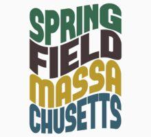 Springfield Massachusetts Retro Wave Kids Tee