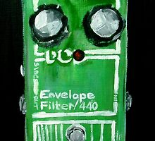 Radiohead Envelope Filter Guitar Pedal Fine Art Print Of Acrylic Painting by JamesPeart