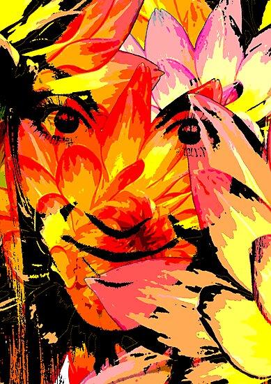 Vivid Floral Portrait by Hannah94