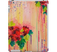 STRAWBERRY CONFETTI Abstract Acrylic Floral Bouquet Paainting Pretty Pink Red Peach Flowers iPad Case/Skin