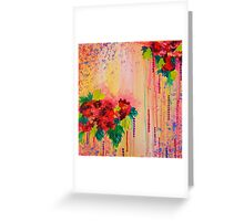 STRAWBERRY CONFETTI Abstract Acrylic Floral Bouquet Paainting Pretty Pink Red Peach Flowers Greeting Card