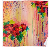 STRAWBERRY CONFETTI Abstract Acrylic Floral Bouquet Paainting Pretty Pink Red Peach Flowers Poster