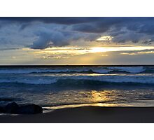 beach sunset with golden sky Photographic Print