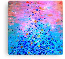 WHAT GOES UP, REVISITED Bold Royal Blue Pink Bubbles Whimsical Underwater Ocean Abstract Painting Canvas Print