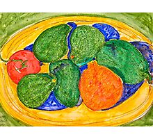 Neon Avocados, Tomato and Mineola Still Life Photographic Print