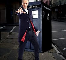 Peter Capaldi as the 12th Doctor and the TARDIS by emilymariee8