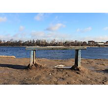 An empty Bench by the river Photographic Print