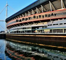 Millennium Stadium, Cardiff - Birthday Card  by Paula J James