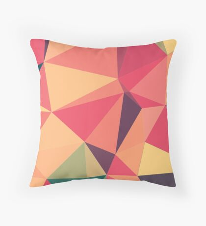 Fruit salad, abstract triangle mosaic design Throw Pillow