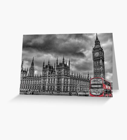 Houses of Parliament and Red Bus Greeting Card
