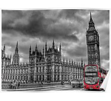 Houses of Parliament and Red Bus Poster