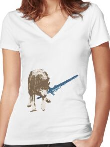 Great Grey Wolf Sif Women's Fitted V-Neck T-Shirt