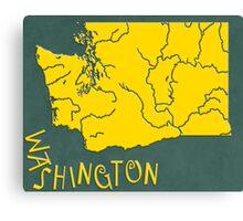 Washington State Map Canvas Print