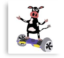 Cool Funny Black and White Cow on Hoverboard Canvas Print