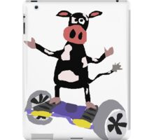 Cool Funny Black and White Cow on Hoverboard iPad Case/Skin