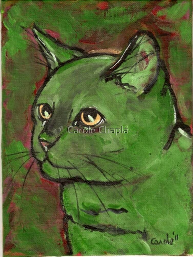 Cat Expressionism Greens and Reds by Carole Chapla