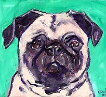 Pug with Purple by Carole Chapla