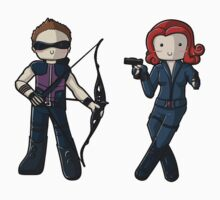 Chibi Hawkeye and Black Widow by myfluffy