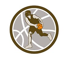 Basketball Player Dribbling Ball Circle Retro by patrimonio