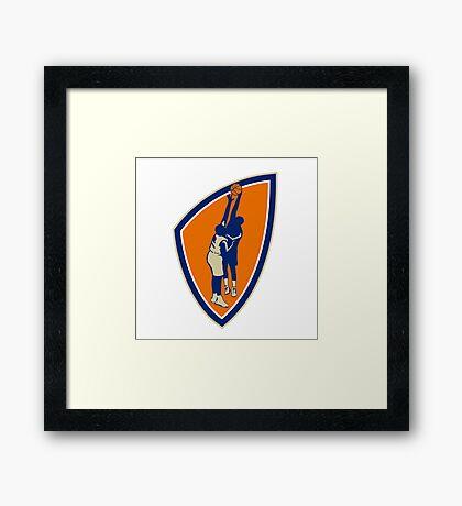 Basketball Player Dunk Block Ball Shield Retro Framed Print