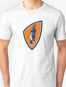 Basketball Player Dunk Block Ball Shield Retro Unisex T-Shirt