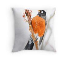 American Robin watercolor art Throw Pillow