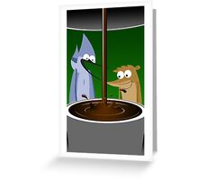 Mordecai, Rigby, and Coffee Greeting Card