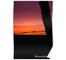 Fence Post Sunset Poster