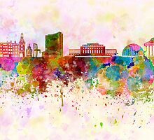 Geneva skyline in watercolor background by Pablo Romero