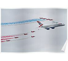 Red Arrows and British Airways A380 Poster