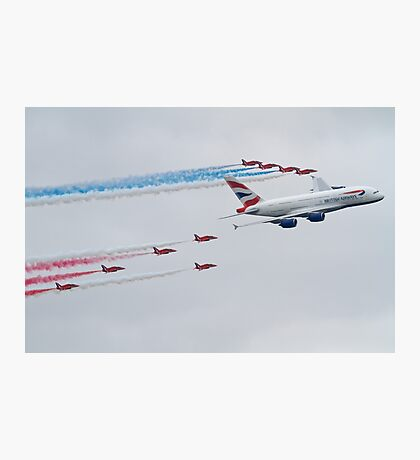 Red Arrows and British Airways A380 Photographic Print