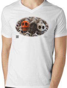 Orange Black And White Mens V-Neck T-Shirt