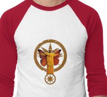 Red Christ with Butterfly Wings Men's Baseball ¾ T-Shirt