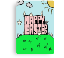 Happy Easter with chicks Canvas Print