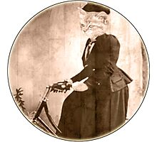 lady Cat on a bike round Photographic Print