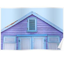 Beach hut loveliness in purple and blue Poster