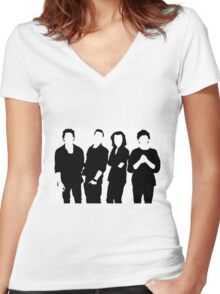 One Direction Silhouette Black and White Women's Fitted V-Neck T-Shirt