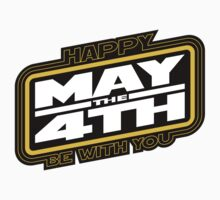 Happy May the 4th! (Yellow/White-Slanted) Kids Clothes